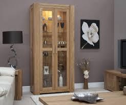 Living Room Display Cabinets Trend Solid Oak Glass Display Cabinet Oak Furniture Uk
