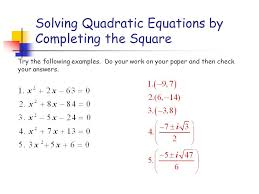 Solving Quadratic Equations By Completing The Square Worksheet ...
