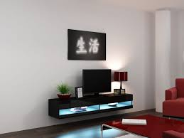 Wall Cabinets Living Room High Gloss Tv Stand Cabinet With Led Lights Entertainment Floating