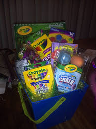 Raffle Prize Ideas For Kids Luckyclovercontest Crayola Themed Gift Basket Kids Basket