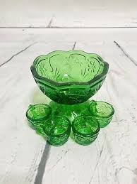 antique green glass ice cream bowl w 4 mini topping cups