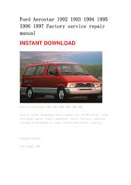 ford aerostar repair manual