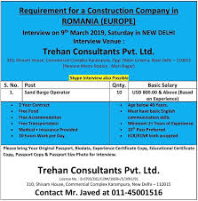 Urgently Requirement For A Construction Co In Romania Europe