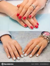 Koláž Z Manikúry ženské Ruce S červenými Nehty Světle Modré A