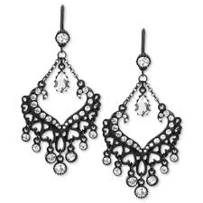 j crew midnight crystal chandelier earrings in black lyst white