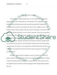horizontal violence in nursing essay example topics and well horizontal violence in nursing essay example