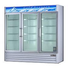 blue air bagr72 glass door display reach in commercial refrigerator 3 doors