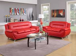 contemporary red bonded leather sofa loveseat set