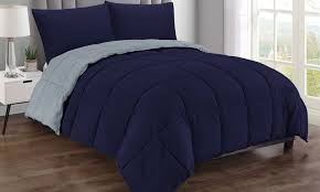 red navy blue 3pc king size bed