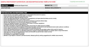 restaurant supervisor job description