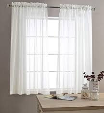 Amazon.com: Sheer White Curtains for Living Room 63 inch Length ...