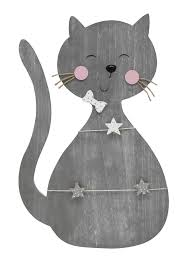 grey wooden board in the shape of a cat with starshaped clothes pegs