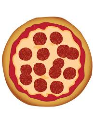 Pepperoni Pizza, top view, drawing free image