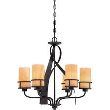kyle rustic chic 6 light bronze chandelier with onyx shades