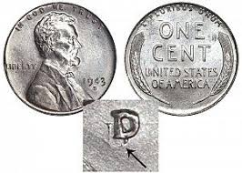 B 1943 D Lincoln Wheat Cent Penny Steel Cent Boldy