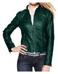 women s green faux leather moto jacket