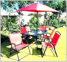 small metal patio table with umbrella hole set round and 2 chairs market