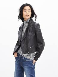 lyst banana republic cropped black leather jacket in
