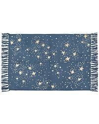 kinship stars blue gold dhurrie rug