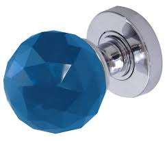 blue faceted gl mortice door 60mm on polished chrome rose jh5258pc