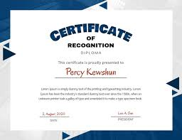 Certificate Recognition Blue Certificate Of Recognition Design Template Postermywall