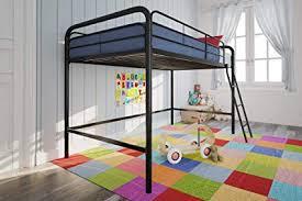 Amazon.com: DHP Junior Loft Bed Frame With Ladder, Black: Kitchen ...