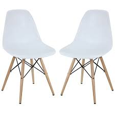 white modern dining chairs. Modway Two Plastic Side Chairs In White With Wooden Base Modern Dining C
