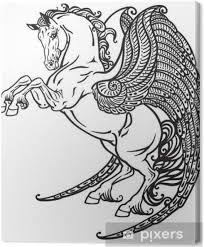Obraz Pegasus Mýtický Okřídlený Kůň černá A Bílá Tetování Image Na Plátně