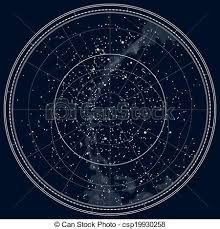 Northern Hemisphere Constellation Chart Astronomical Celestial Map Of The Northern Hemisphere Detailed Black Ink Version