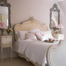 Shabby Chic Bedroom Decor Classic Side Table And Curvy Ornate Headboad For Shabby Chic
