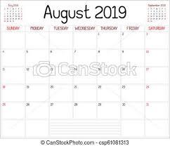 Year 2019 August Planner