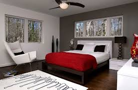 gray and red bedroom. view in gallery dark gray accent wall and pops of black anchor the lovely room [design: epic red bedroom s