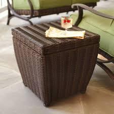 hampton bay pembrey brown all weather wicker patio storage cube