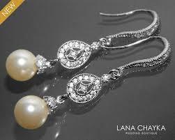 bridal pearl chandelier earrings swarovski 8mm ivory pearl earrings small pearl cz wedding earrings wedding pearl jewelry prom pearl jewelry 32 90 usd