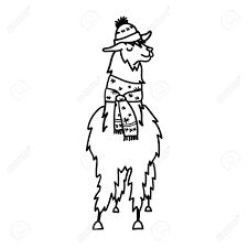冬の帽子とスカーフでかわいいキャラクター南米 ラマのベクター イラストです