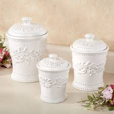 anca leaf kitchen canister set white set of three touch to zoom