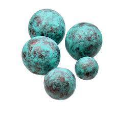 Decorative Sphere Balls Copper and Turquoise Blue Handmade Papier Mache Accent Balls Set 57