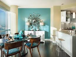 Delighful Dining Room Paint Ideas With Accent Wall A Turquoise An Oversized Inside Decorating