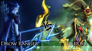 dota 2 medusa vs drow ranger one click battle youtube