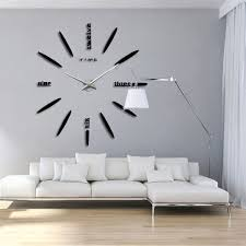 modern large 3d diy mirror surface art wall clock sticker home office room decor 5 black