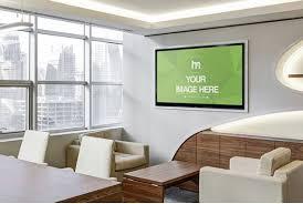 modern office walls. Modern-office-Tv-screen-image-mockup-realistic-screen- Modern Office Walls