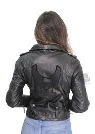 harley davidson womens wild distressed eagle b s wax finish biker black leather jacket