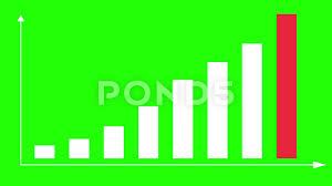 2d Bar Chart 2d Bar Chart Infographics Green Screen With Red Stock