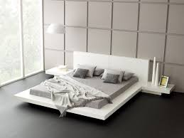 modern white king size floating bed frame with headboard and