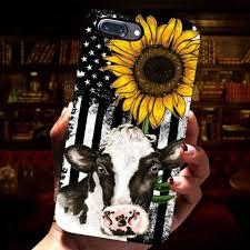 american flag sunflower cow phone case