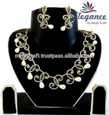 indian american diamond jewellery whole fashion jewelry indian party wear necklace set pearl