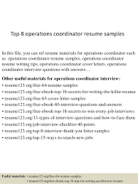 Top 8 operations coordinator resume samples In this file, you can ref resume  materials for ...