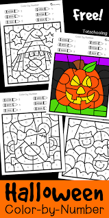 Toddlers and preschoolers prefer my happy halloween coloring sheets because the pictures are so nice and cheerful. Halloween Color By Number Totschooling Toddler Preschool Kindergarten Educational Printables