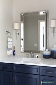 painting thermofoil cabinets. Thermofoil Cabinets Painted With Benjamin Moore Hale Navy Loving The Chrome Star Sconces On Painting