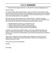 Teacher Assistant Cover Letter Best Assistant Teacher Cover Letter